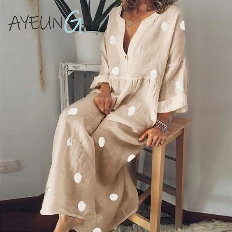 Polka Dot Maxi Dress V-Neck Long Sleeve Casual Boho Beach Plus Size Women Fashion Elegant Button Down Loose Office Dress
