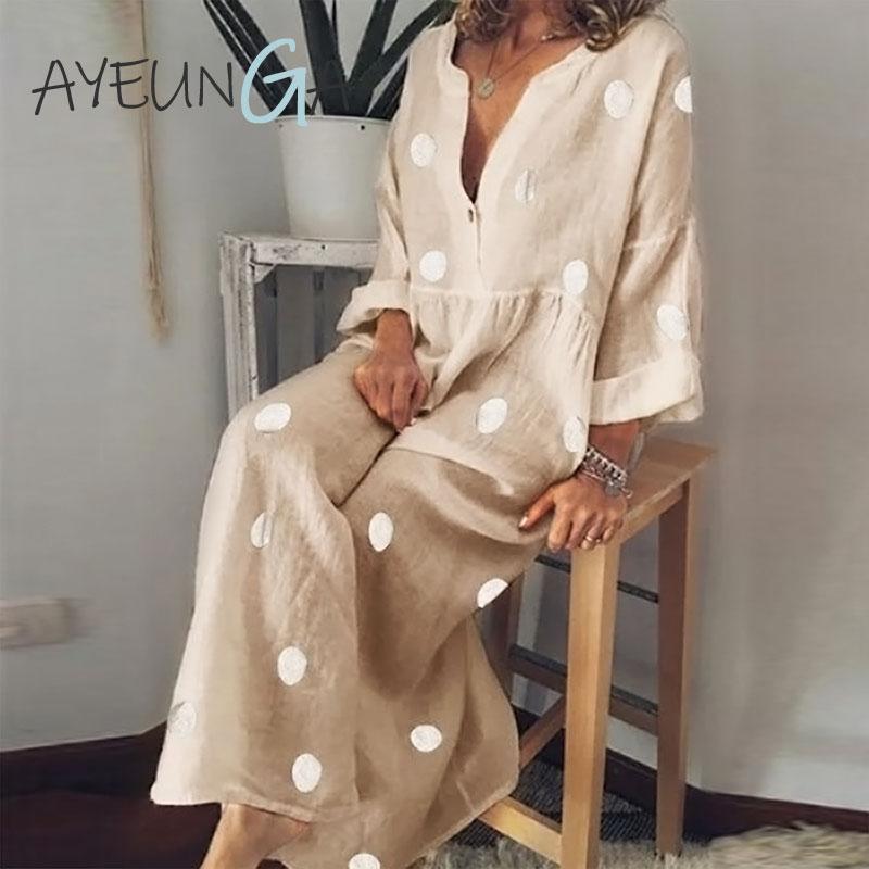 Платье макси в горошек с v образным вырезом и длинным рукавом, повседневное пляжное платье в стиле бохо размера плюс, женское Модное Элегантное свободное офисное платье на пуговицах|Платья|   | АлиЭкспресс