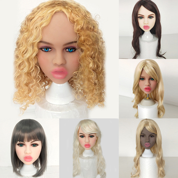 Real Size Love Doll Head Black Beauty Women TPE Oral Sex with Thick Lips Lifelike With M16 Scew For 135-170cm Dol