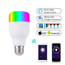 WIFI intelligent LED bulb 7W E27 RGB color bulb CW color dimming voice/app control graffiti intelligent
