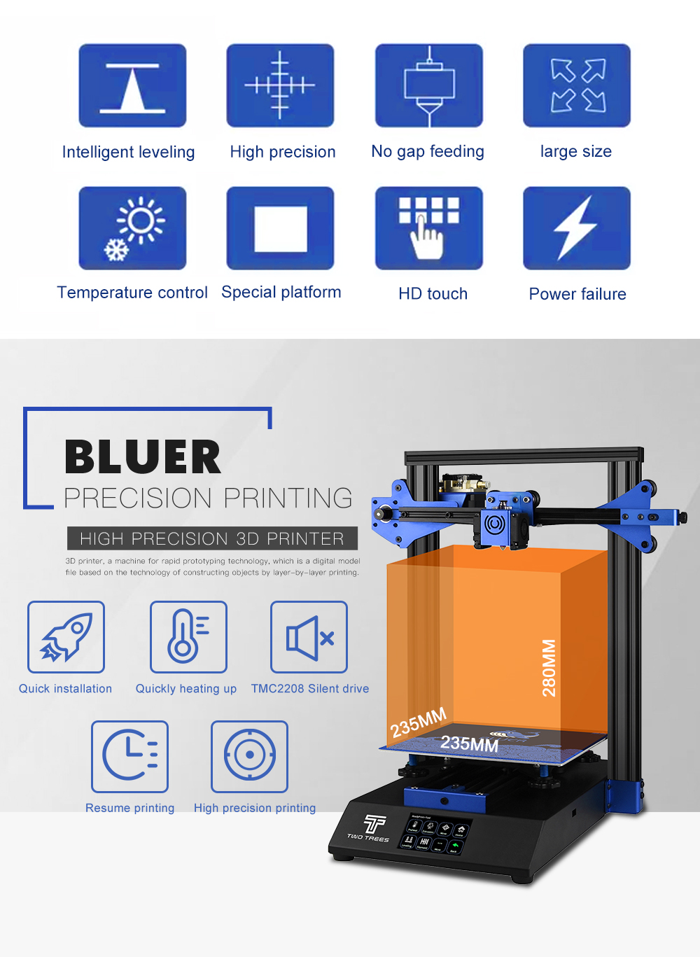 BLUER TWO TREES 3D Printer for High Precision Printing with Auto Leveling and Resume Power Failure 6