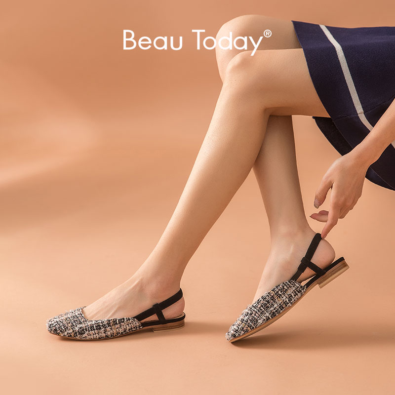 BeauToday Sandals Women Plaids Sling Back Strap with Elastic Flats Heel Square Toe Ladies Summer Leather Shoes Handmade 32093