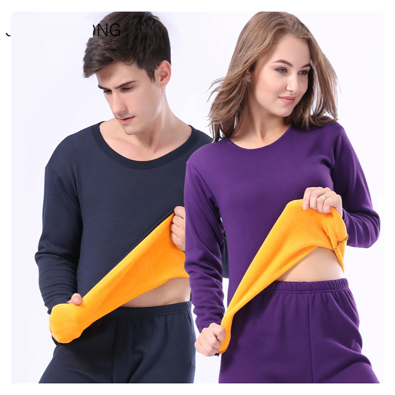 Winter Velvet Thick Thermal Underwear Men and Women Winter Warm Layered Clothing Pajamas Suit Thermal Underwear