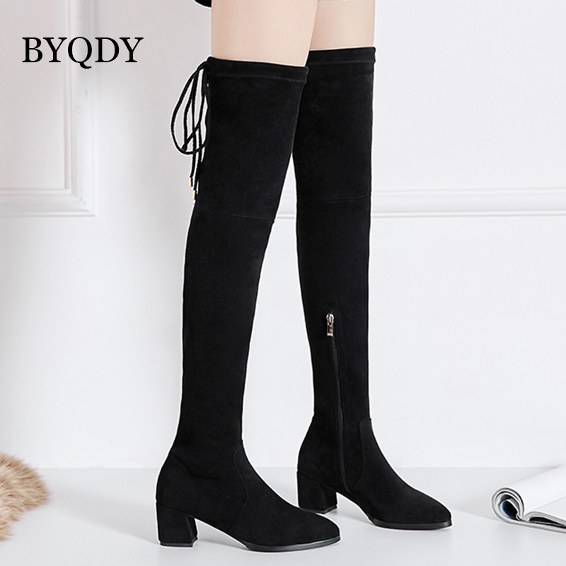 BYQDY New 2020 Women Over The Knee High Boots Side Zipper Thick Heels Winter Shoes Lacing Up Size 34-43 Discount