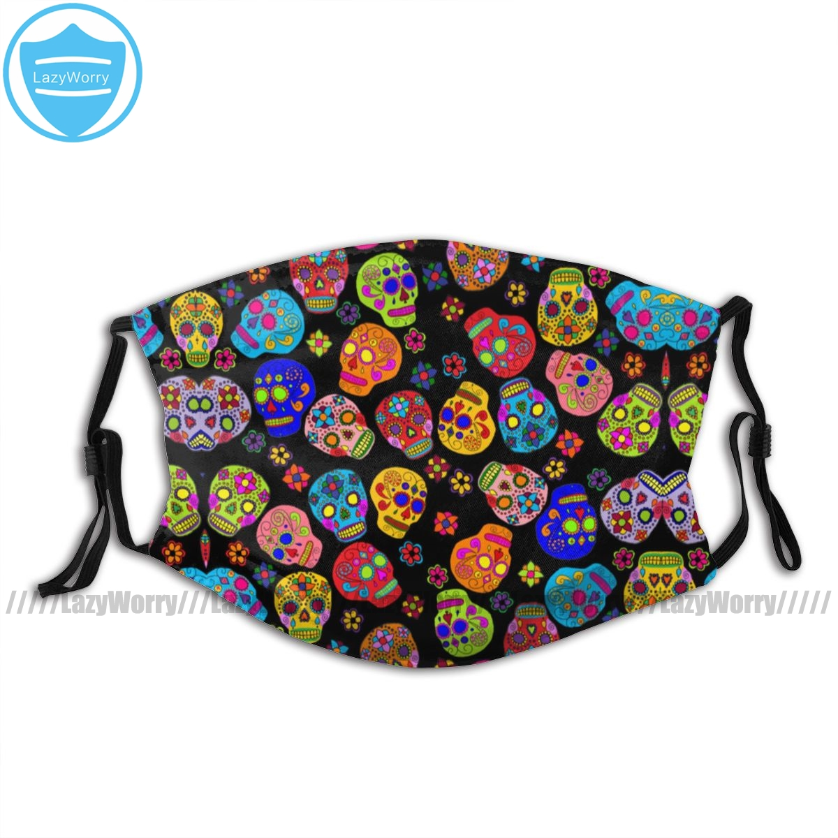 Day Of The Dead Mouth Face Mask Customizable Mexican Folk Art Sugar Skulls Facial Mask Pretty Adult Mask