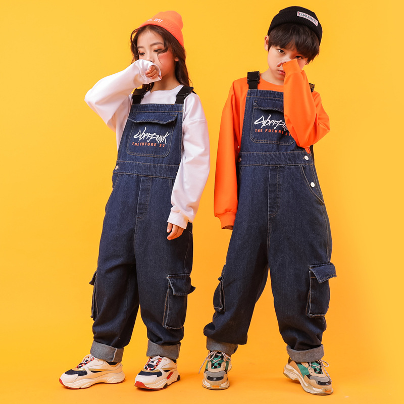 Kids Fashion Loose Hip Hop Clothing Sweatshirt Tops Denim Blue Bib Pants For Girls Boys Jazz Dance Costumes Dancing Clothes Wear
