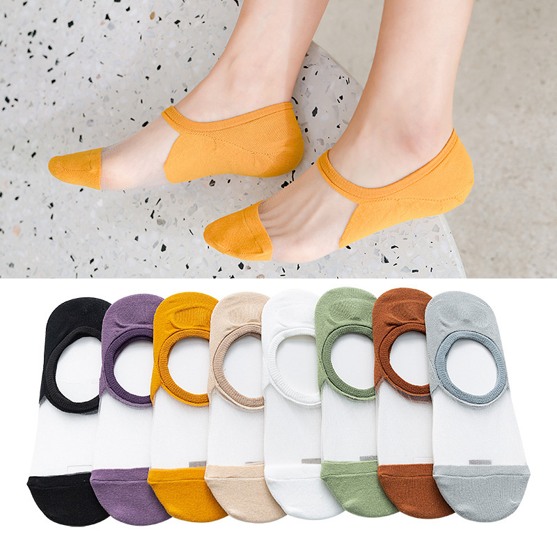 Women Sock Slippers 2020 New Fashion Color Summer Style Thin Women No Show Transparent Ankle Socks Trendy Women Invisable Socks