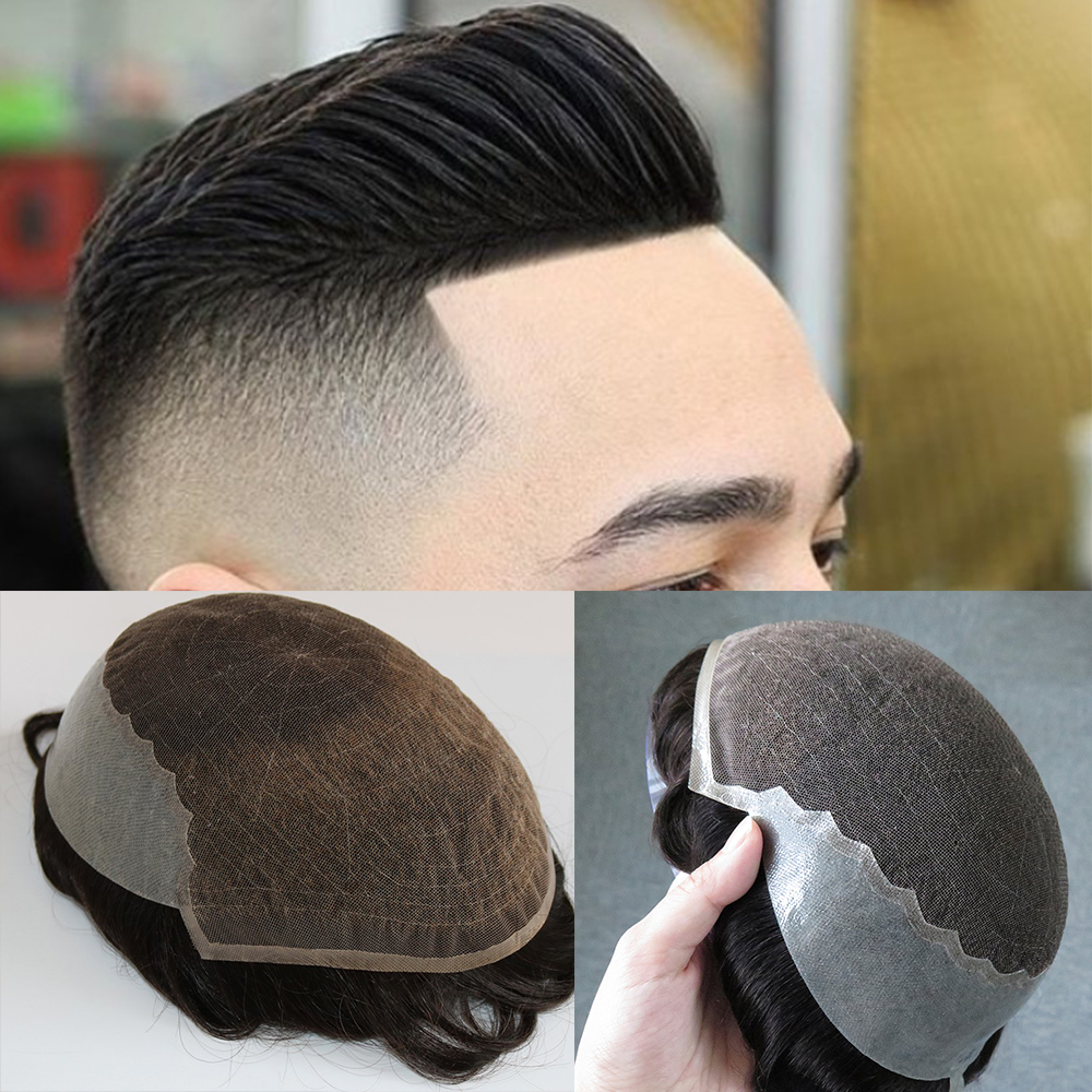 Swiss Lace Mens Wig Human Hair Toupee Hairpieces For Men Human Hair Replacement Wigs Natural Wave Bleached Knots Hair Men