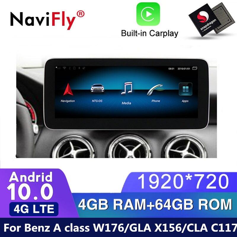 4G LTE Android 10 Автомобильный gps-навигатор мультимедийный плеер для Mercedes benz класса A W176 / GLA X156 / CLA C117 2013 - 2018 радио SD
