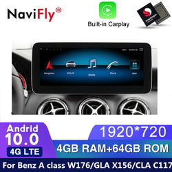 4G LTE Android 10 car gps navigation multimedia player for Mercedes benz A class W176 / GLA X156 / CLA C117 2013 - 2018 Radio SD