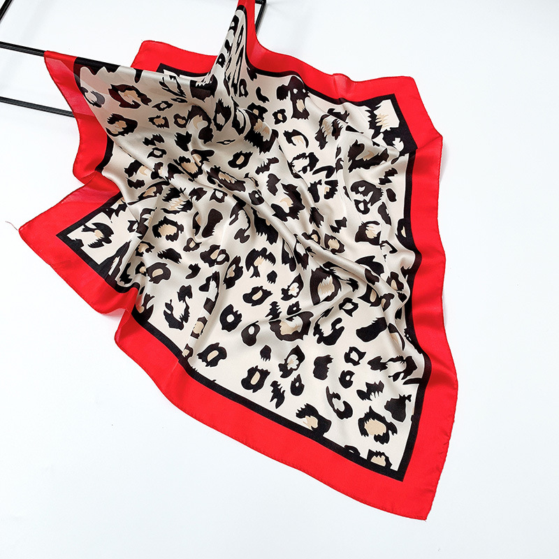 Faux Silk Scarf Leopard Square Neck Wrap Vintage Women Scarf Brand Lady Decorative Accessory Stole Tippet Bag Ribbon Bandana