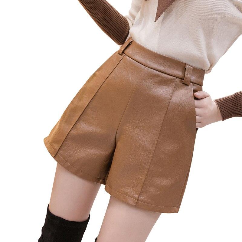 Womens Sexy PU Leather Shorts Women 2019 Autumn Winter Korean High Waist Slim Casual Shorts Faux Leather Wide Leg Shorts