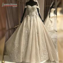 アマンダ Novias ブランドのウェディングドレス高品質レース実際の作業ドバイのウェディングドレス