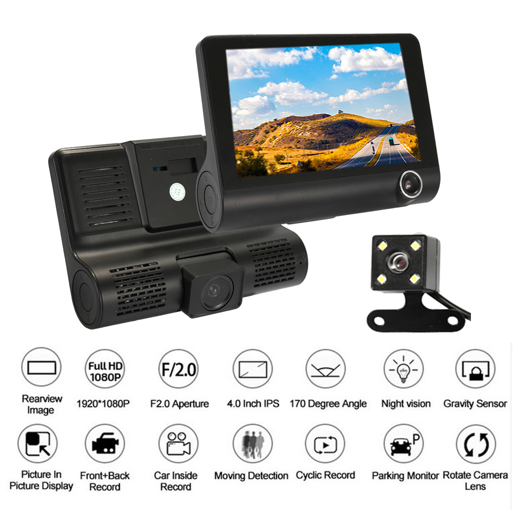 KKMOON Car DVR Camera Rearview Car-Dash-Camera-Recorder Dual-Lens Night-Vision Auto 170-Degree