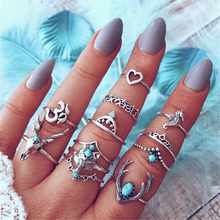 Charming ladies fashion ring popular golden heart-shaped animal ring set crown double-layer charm jewelry alloy accessories ring charming rhinestone heart ring for women