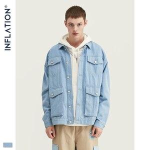 Image 4 - INFLATIE Mannen Denim Mannen Pak Herfst Winter Mode Mannen Blazer Jeans Pak Losse Fit Uitloper Denim Mannen Pak Spliced Jeans suits