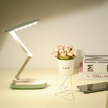 Купить с кэшбэком LED Stand Desk Lamp Rechargeable 18650 Battery Portable 5V LED 4 Dim Folding Table Light USB Table Lamps Reading Office Student
