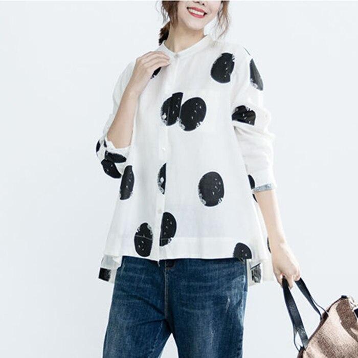 Women Fashion Elegant Casual Look Shirt Female Tops Cute Polka Dot Print Weekend Blouse Summer Single Breasted Shirt and Blouse 17