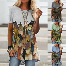 Summer New Style Printed Loose Round Neck Women's T Shirt Casual Tops Fashion Plus Size Clothing