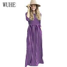 WUHE Casual Retro Striped Print Boho Dress Women Sexy Beach Maxi Elegant Stylish Vestidos Pockets Party Vintage Long