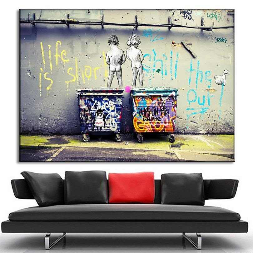 Bella Bambini Graffiti Pittura Decorativa La Vita È Breve Graffiti Divertente Senza Cornice della Tela di canapa di Arte Della Parete Immagini Del Capretto Immagini