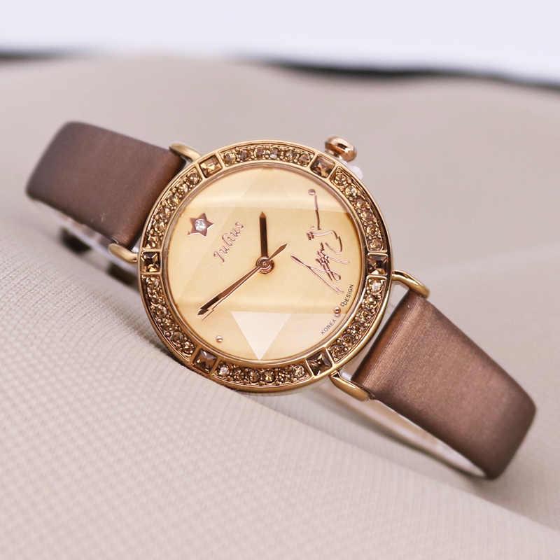 Женские часы со сверкающими звездами, японские кварцевые часы, изящный модный браслет, подарок из натуральной кожи на день рождения для девочек, Julius, без коробки