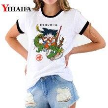 3D T Shirts Dragon Ball Z Goku Printed Tops Women Cartoon Graphic Tees Short Sleeve White Unisex Shirt