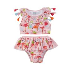 new summer baby swan swimsuit fashion ruffle flamingo kids swimsuit cute baby beach wear with matching hat free shipping yz066 2020 new Summer Kids Girls Swimsuit Ruffle Tassels Bikinis Sets Bathing Suits Swimsuit Swimwear Fashion Clothes
