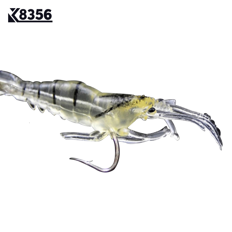 5 Pcs Fishing Bait Shrimp Fish Simulation Lures Hooks Fishing Accessories Prawn
