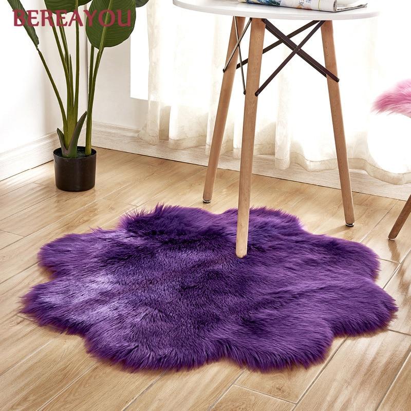 Tapis de fourrure nordique et tapis pour la maison salon chambre tapis chambre enfants chambre chaise couverture moderne tapis rond tapis chambre - 4