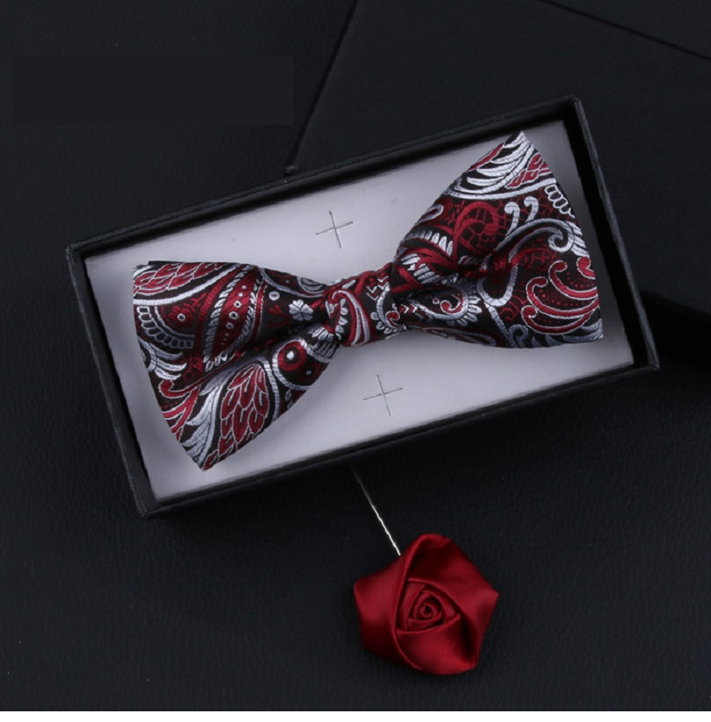 2020 New Fashion Designer Men's Bow Ties Gorgeous Double Fabric Flower Pattern Bow Tie Banquet Host Butterfly Tie With Gift Box