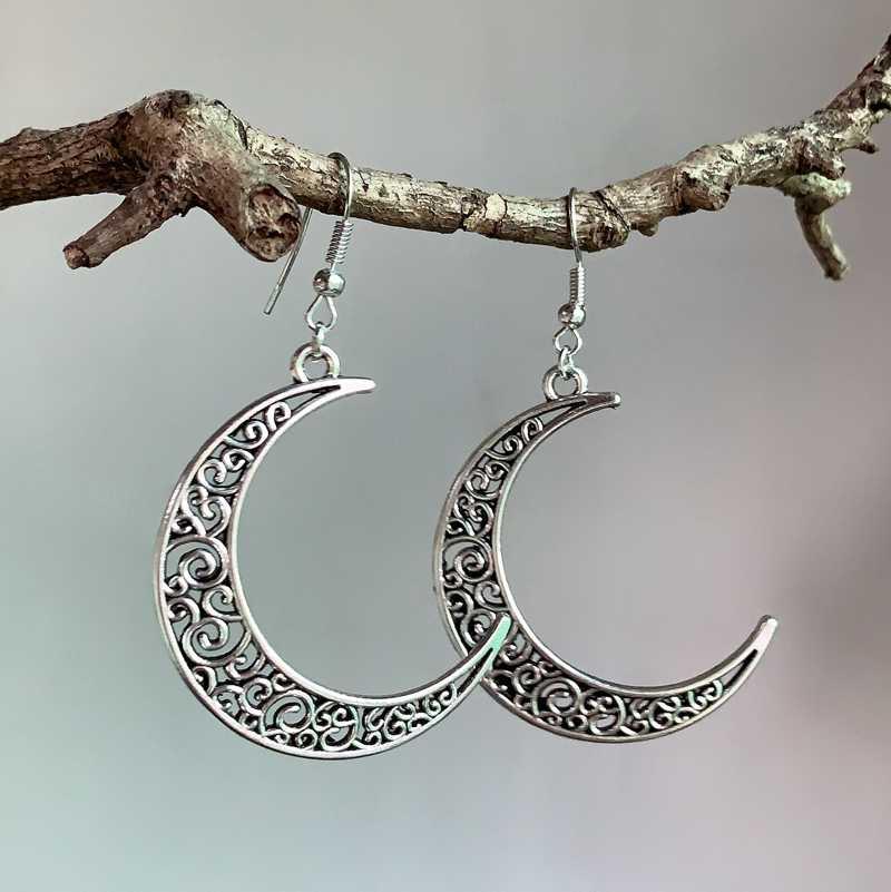 Crescent Orecchini Misterioso Gotico Dei Monili Luna Strega Celtica Pagan Viken Dio Della Luna Luna Fase Strega Dea Moda Donna Regalo di Trasporto Libero
