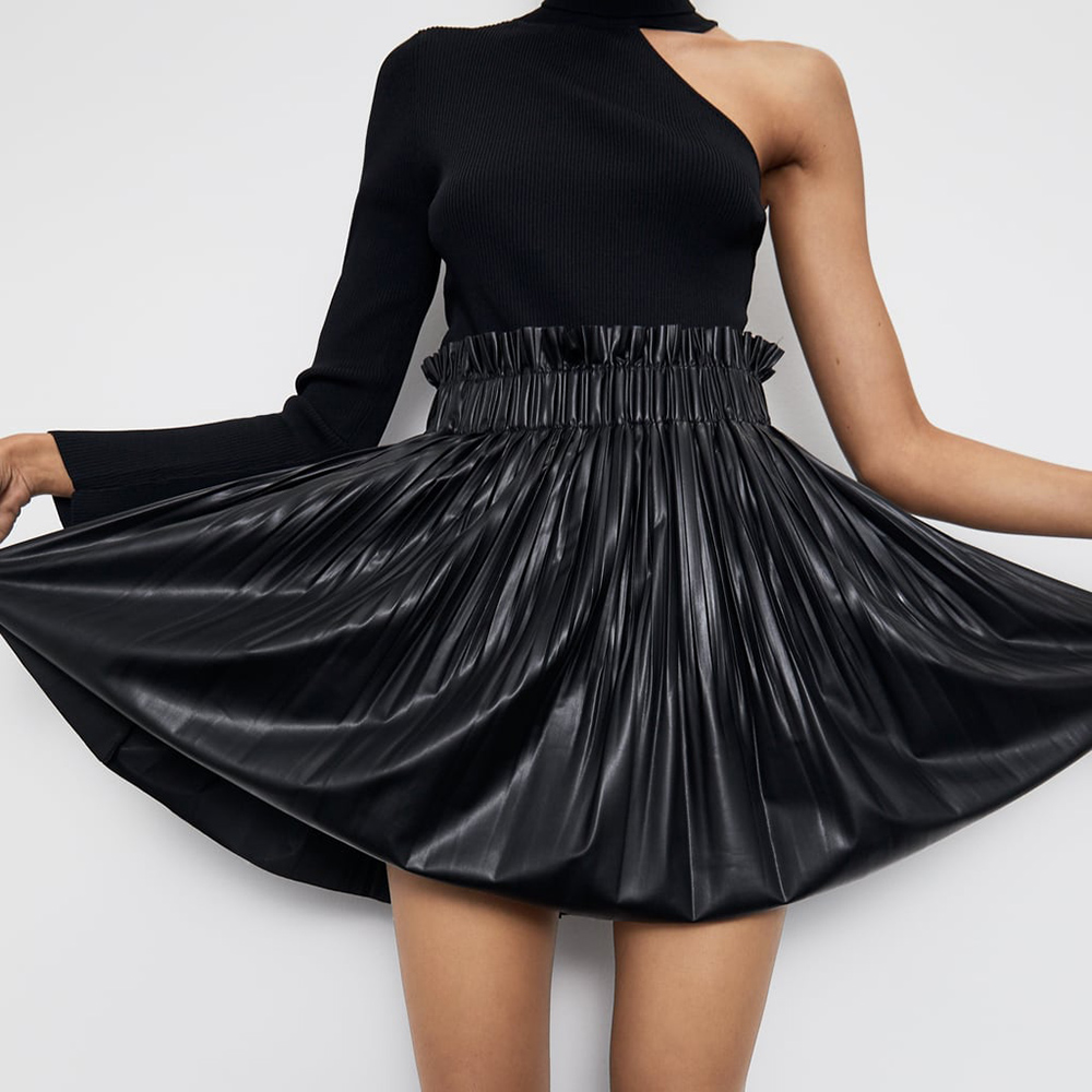 ZA Skirt England Elegant Vintage High Waist Leather Skirt Women Fashion 2019 Skirts Women Autumn Newest Party Friendship Girls