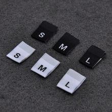 Etiqueta de talla para ropa, 100 Uds., texto en negro, blanco, ropa, camiseta, tela de vestido, etiqueta, XS S M L XL 2XL 3XL 4XL