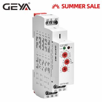 цена на GEYA GRT8-M Multi-Function Din Rail Automatic Timer Relay AC DC 12V 24V 220V SPDT DPDT Multifunction Time Relay