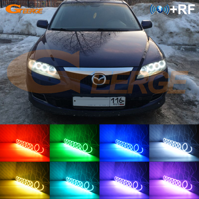 For Mazda6 Mazdaspeed <font><b>Mazda</b></font> <font><b>6</b></font> MS6 2002-2008 Excellent RF remote Bluetooth APP Multi-Color 8pcs RGB LED Angel Eyes halo rings image