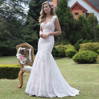 Romantic Lace Mermaid Wedding Dress White Ivory Cap Sleeves Sweep Train Backless Country Bridal Gown Robe de Mariage
