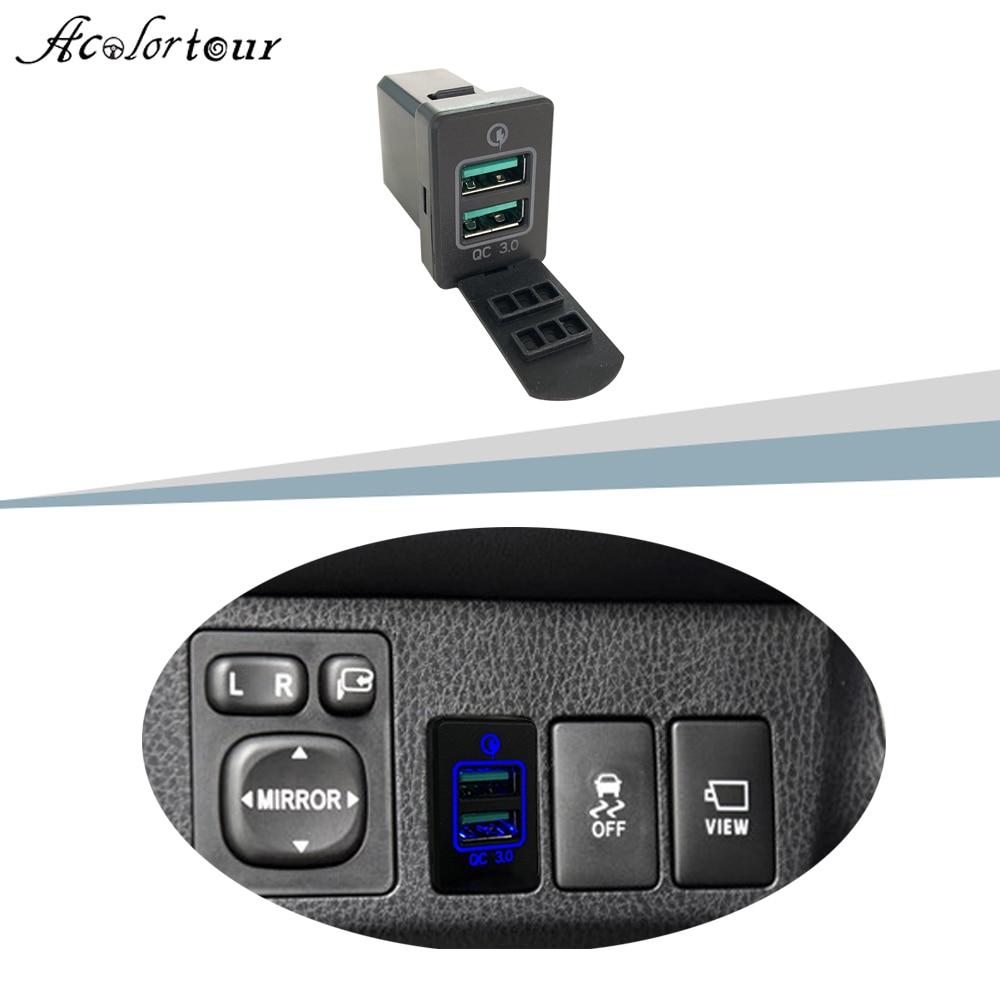 Dual USB QC3.0 Quick Charger Blue Led Charging Socket Adapter For Toyota Camry Corolla Prado RAV4 Yaris Highlander Vios Reiz