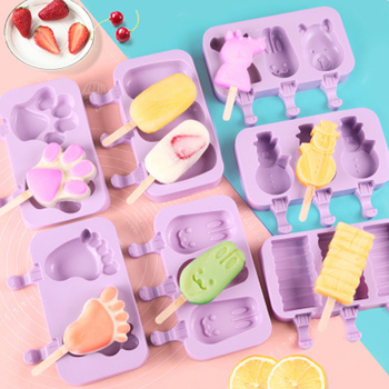 1PC New Silicone Ice Cream Mold Popsicle Molds DIY Homemade Cartoon Ice Cream Popsicle Ice Pop Maker Mould image