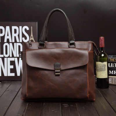 2020 nowa męska skórzana torba na laptopa męska teczka biznesowa torba na laptopa torba podróżna męska skórzana pojemna torba biurowa