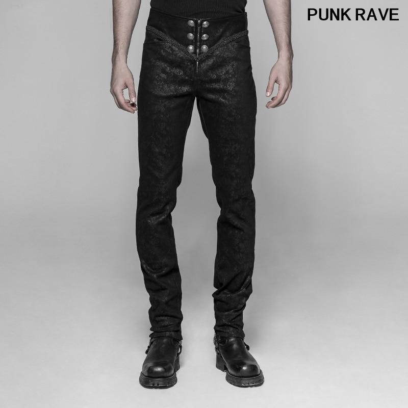 Mode palais rétro mince-ajustement ceinture hommes pantalon gothique Rock Floar fête scène simple cool pantalons longs Punk Rave WK-341XCM