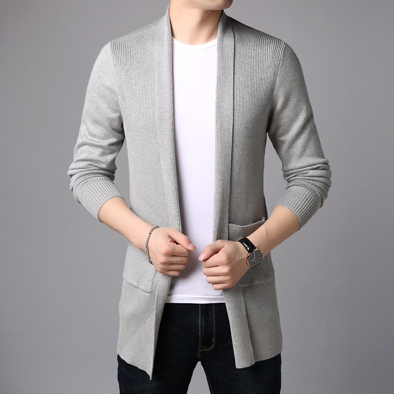 Thoshine Brand Spring Autumn Men Sweatercoats Solid Color Slim Fit Pockets Male Cardigan Casual Outerwear Sweater Coat Knitwear