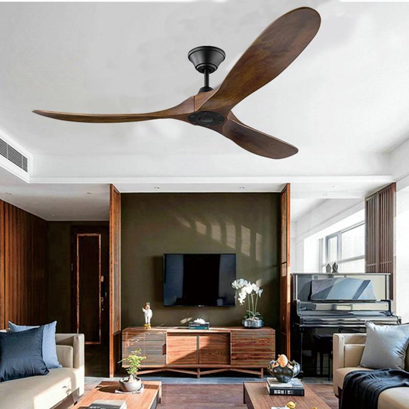 Brave 60 Inch Ceiling Fan Industrial Vintage Wooden Ventilator With No Light Remete Control Decorative Blower Wood Retro Fans