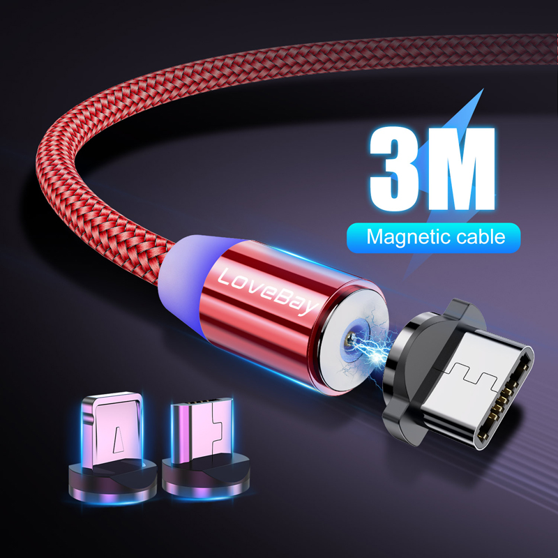 Lovebay 3M Magnetic Micro USB Cable For Iphone Samsung Huawei Xiaomi Phone Type-C Cable Magnet Charger Wire Cord Fast Charging
