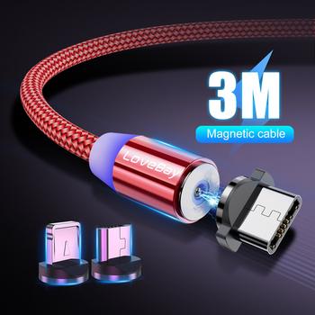 Lovebay 3M magnetyczny kabel Micro USB dla iphone Samsung Huawei Xiaomi telefon type-c kabel magnes ładowarka przewód szybkie ładowanie tanie i dobre opinie LIGHTNING 2 4A NYLON Złącze ze stopu 3 w 1 Magnetyczne 2 w 1 Ze wskaźnikiem LED Aluminum Plug + Nylon Cable Magnetic USB Fast Charging cable for iphone Samsung