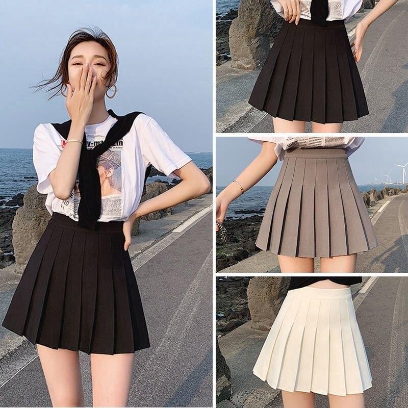 Сексуальная Женская короткая юбка, милая Женская плиссированная юбка на весну и осень, однотонная мини-юбка с высокой талией, летняя женска...