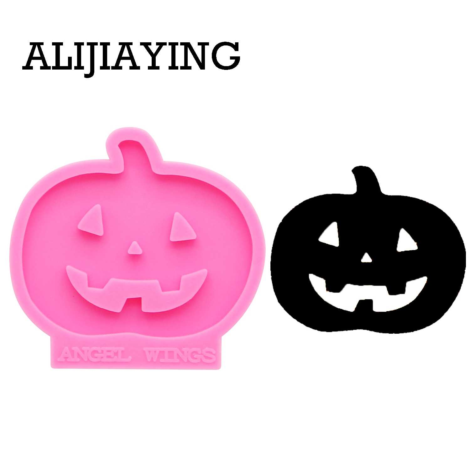 DY0142 Shiny Halloween Ghost and pumpkin keychain silicone mold DIY craft keyring pendant for girl jewelry funny keychains