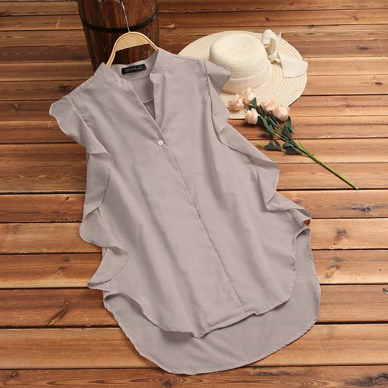 ZANZEA 2020 Summer Women Sleeveless Blouse Ladies Elegant V Neck Ruffles Tops Casual Work OL Shirt Blusas Femininas Plus Size