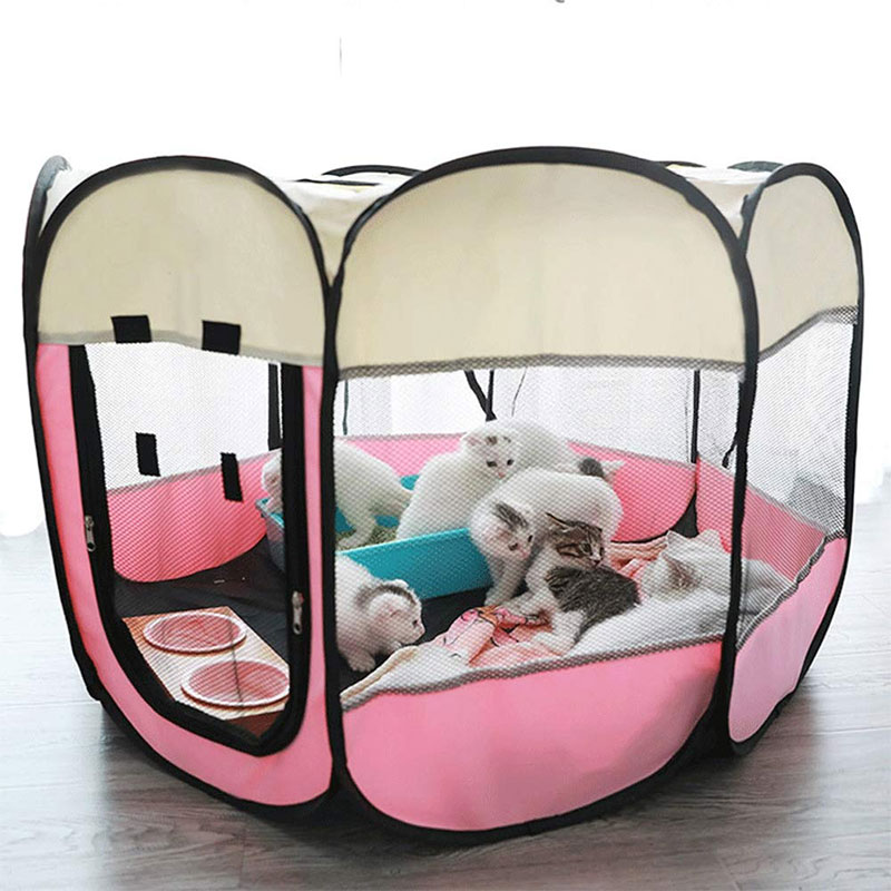 Portable Outdoor Dog Kennels Fences Corral De Perros For Dogs Foldable Indoor Puppy Cats Pet Cage Octagon Fence вольер для собак