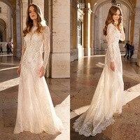 2020 Vintage Champagne Lace Bohemian Wedding Dress A Line Long Sleeves Sexy Backless Bridal Gown Vestidos de Novia 2019